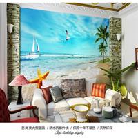 供应3D立体海景图客厅高清背景图家装墙纸