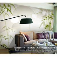 中式风竹子客厅3D装修壁画工厂特价壁纸墙贴