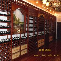 供应红酒卖场松木实木酒架定制