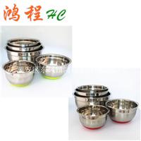 供应不锈钢沙拉盆/带硅胶底沙拉碗