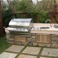块毛石户外不锈钢燃气烧烤台