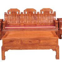 供应山东红木家具沙发刺猬紫檀如意象头沙发