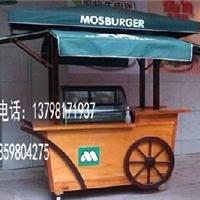 供应商业街移动木质售货车 可移动手推车