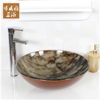 2016新仿古玉石钢化玻璃艺术盆洗手盆台上盆