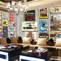 供应KTV墙面3D壁画 酒吧装修复古木纹墙纸