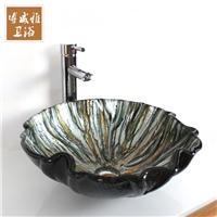 新款银黑熔岩款钢化玻璃艺术盆洗手盆台上盆