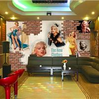 供应主题酒店3D壁画 宾馆餐厅砖纹墙纸