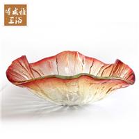 钢化玻璃洗手盆创意琉璃荷叶艺术盆台上盆