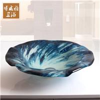 卫生间钢化玻璃艺术盆台上盆蓝色地中海卫浴