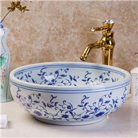供应洗脸盆 洗手盆 古典青花 圆形台上盆