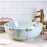 陶瓷艺术盆卫生间洗脸盆荷塘月色圆形台上盆
