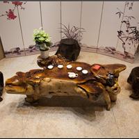 鸡翅木根雕茶桌原木树根茶几实木功夫茶台