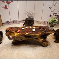供应实木根雕茶桌鸡翅木整体雕刻功夫茶几