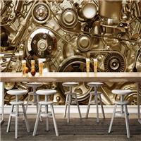 供应餐厅3D工装墙纸 咖啡厅工业机械壁纸