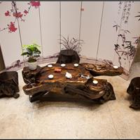 鸡翅木根雕茶桌原木树根茶台楠木雕刻茶几
