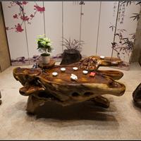 供应鸡翅木雕刻茶桌根雕茶几树根整体茶台