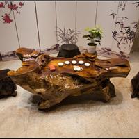 根雕茶几鸡翅木茶桌树根茶台原木雕刻茶海