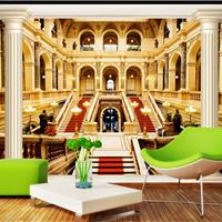 供应欧洲建筑墙纸订制 网吧宫殿建筑壁纸