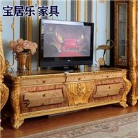 奢豪欧式视听柜实木电视柜榉木电视柜2.2米