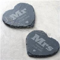 供应创意结婚礼品心形黑色板岩餐垫