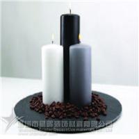 供应圆形黑色天然板岩餐垫烛台
