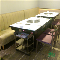 供应微晶石火锅桌 餐厅大理石火锅桌定制