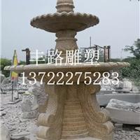 黄锈石大理石喷泉流水风水球花钵摆件