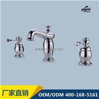 供应全铜冷热水分体式三件套面盆台盆水龙头