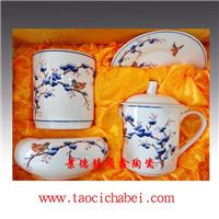 茶杯烟缸笔筒三件套,陶瓷三件套定做