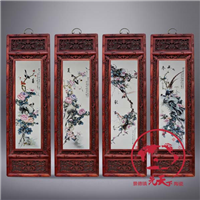 供应陶瓷四条屏春夏秋冬 会所装饰画实木框