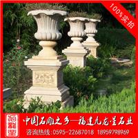 低價批發石雕花盆 石材花缽 埃及米黃花缽