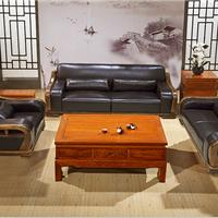 供应中式真皮沙发牛皮实木沙发中式沙发家具