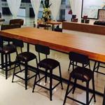 简易长板凳 休闲做旧实木铁艺餐桌办公桌椅