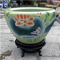 乔迁礼品景德镇陶瓷鱼缸,书画缸摆件