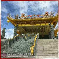 青石九龙浮雕青石牌坊香炉供桌寺庙石雕案例