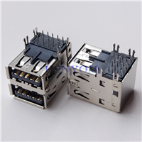 USB 3.0 AF母座双层90度DIP 加长19.7mm
