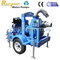 供应6寸康明斯拖车式移动泵站,移动排水泵