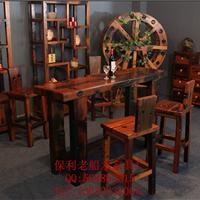 供应实木酒柜吧台桌椅组合老船木酒吧家具