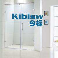 不锈钢无框一字形沐浴房浴室隔断平开玻璃门