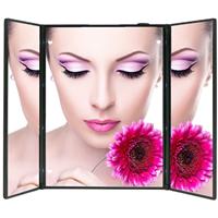 LED化妆镜工厂 发光公主镜 三面折叠镜子