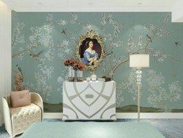 中式花鸟壁纸无缝壁画墙布定制手绘壁画墙纸