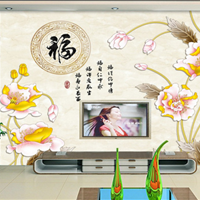 供应瓷砖电视背景墙全抛釉雕刻