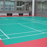 天津羽毛球场橡胶地板安装-运动地板施工