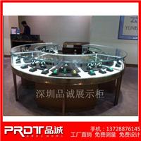 电镀不锈钢圆弧型翡翠珠宝展示柜设计定制