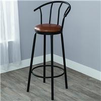 椅子咖啡厅椅子复古风高脚吧台凳铁艺软包椅