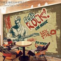 供应餐厅墙纸定制 咖啡厅复古3d壁纸