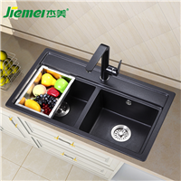 杰美厨房石英石水槽双槽JM211,花岗岩水槽