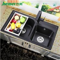 杰美厨房石英石水槽双槽JM208,花岗岩水槽