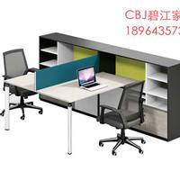 新款时尚办公桌带高侧柜简约板式双人办公桌