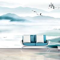 酒店水墨风景壁画 餐厅中式抽象3d墙纸